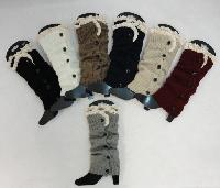 Knitted Long Boot Cuffs [5 Buttons/Antique Lace]